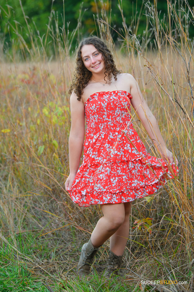Pioneer High School Girls Senior Portrait in Nature Tall Grass Meadows by SudeepStudio.com Ann Arbor Senior Pictures Photographer