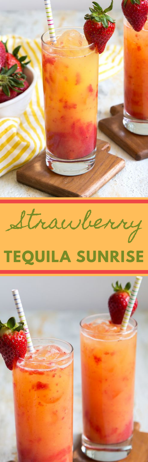STRAWBERRY TEQUILA SUNRISE #drink #healthydrink #sunrise #strawberry #cocktail