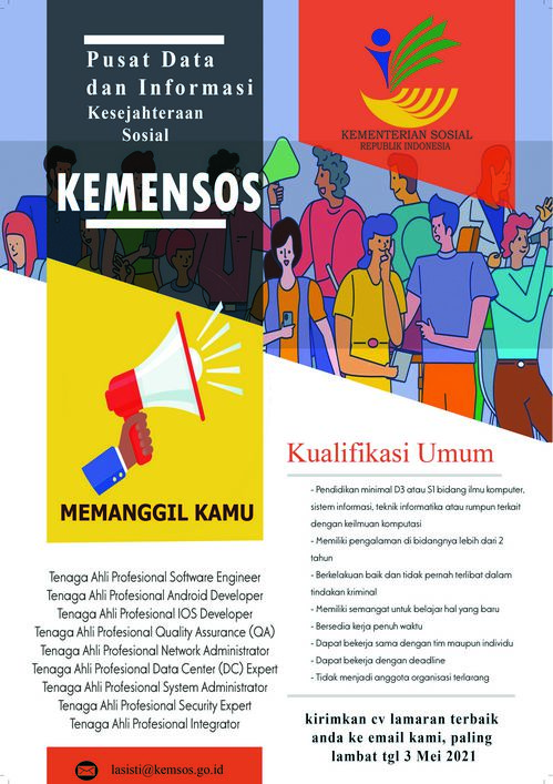Lowongan Kerja Pusdatin Kesos Kementerian Sosial Republik Indonesia Bulan Mei 2021