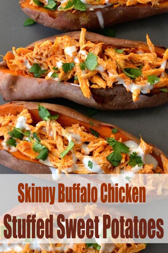 Skinny Buffalo Chicken Stuffed Sweet Potatoes