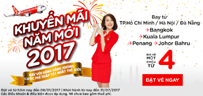 Vé máy bay Air Asia khuyến mãi ngày 02-01-2017