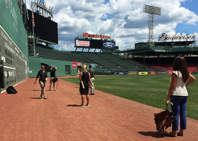 M Doucette Production Crew on the field at Fenway Park