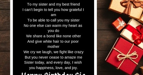 41 Improved Happy Birthday Poems For Sister You Won T Miss Updated