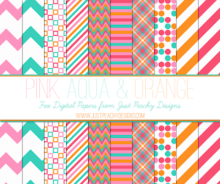 Free Pink, Aqua and Orange Digital Paper