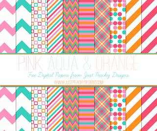 Free Pink, Aqua and Orange Digital Paper