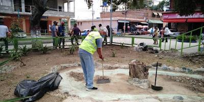 Realizaron jornada de limpieza en casco central de Cúa