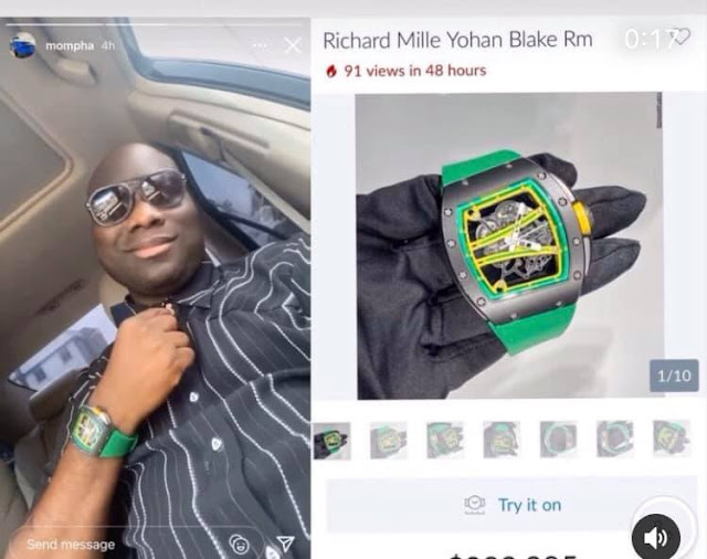 Wow! Mompha Shows Off His N118m Richard Mille Wristwatch (Watch Video)