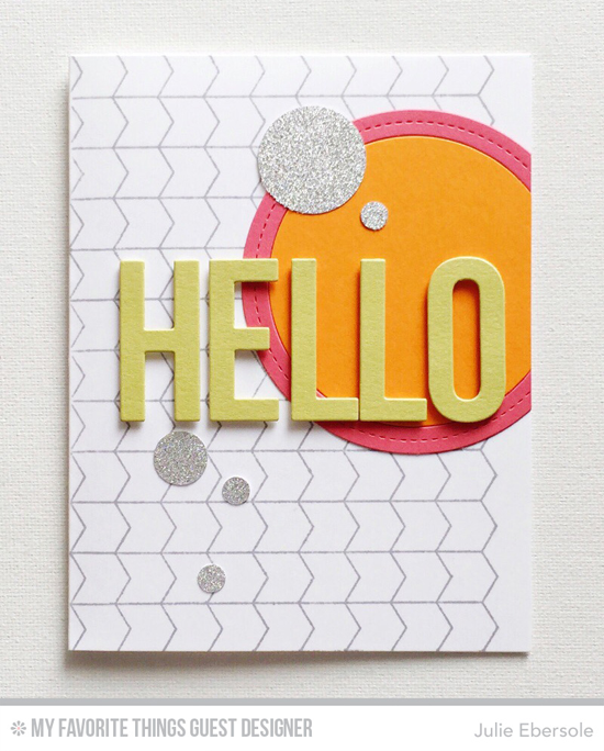 Handmade card from Julie Ebersole featuring Chevron Grid Background stamp, Big Hello and Single Stitch Line Circle Frames Die-namics #mftstamps