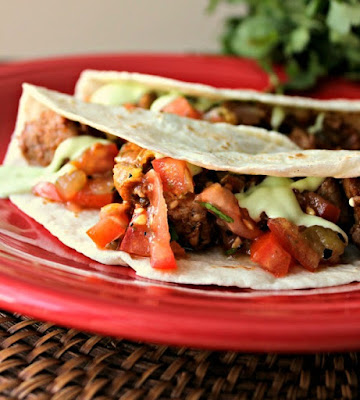 Pork Tacos with Cilantro-Avocado Cream Sauce | by Renee's Kitchen Adventures