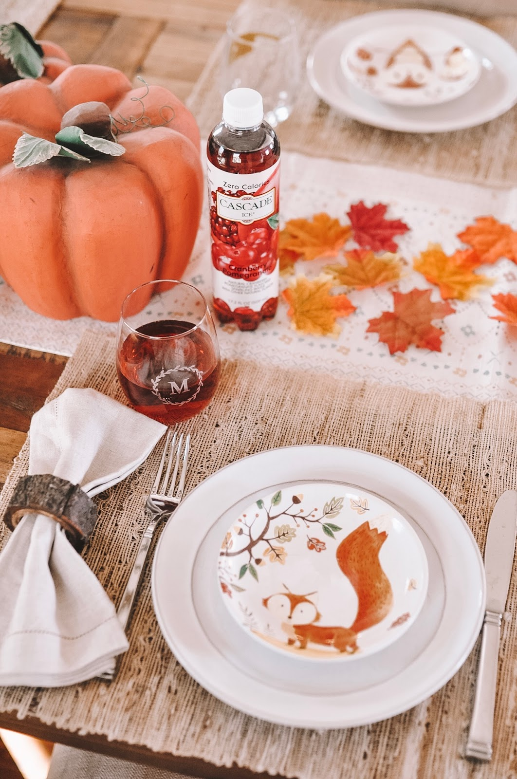 Cascade Ice Sparkling Water in on OKC blogger Amanda Martin's Thanksgiving table