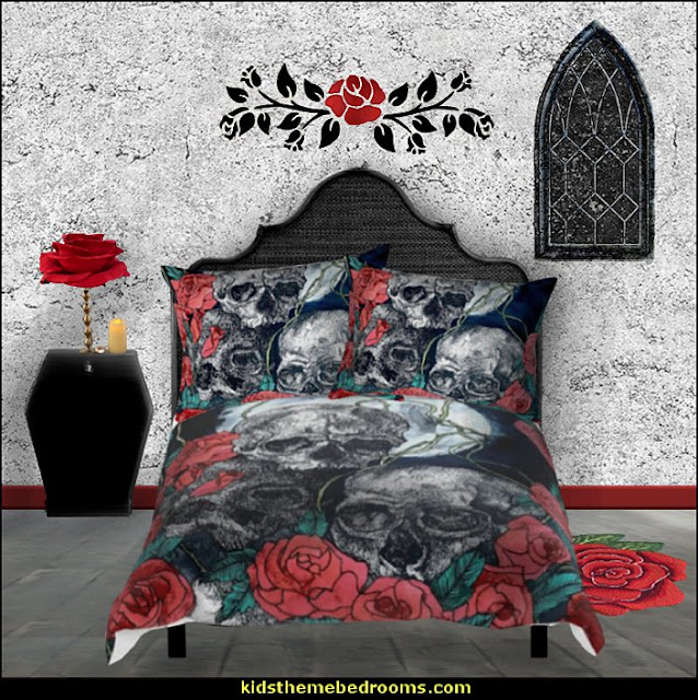skulls roses bedrooms  Skull decor - skull bedding - skull pattern bedding - decorative skulls - sugar skull bedding - skull themed room - skull bedroom wallpaper - Skull bedroom decorating ideas - skulls - gothic skull decor - Monster High bedroom ideas - Monster High wall decals - Monster High room decor - skull bedroom decor ideas