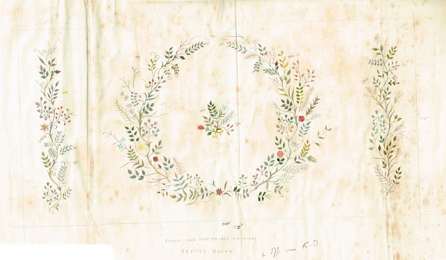 Watercolour of the design for the embroidered panel which hangs above the Queen's bed
