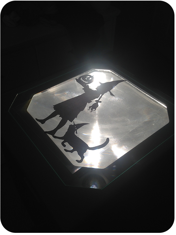 halloween silhouette on projector