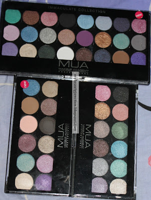 Swatches, review and comparison of MUA eyeshadow palettes Glamour Days, MUA Immaculate Collection and MUA Glitterball