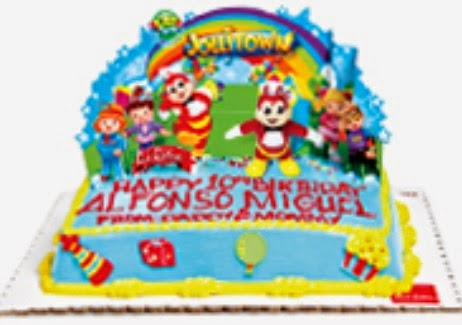 Cake for the Jollibee party theme Jollitown
