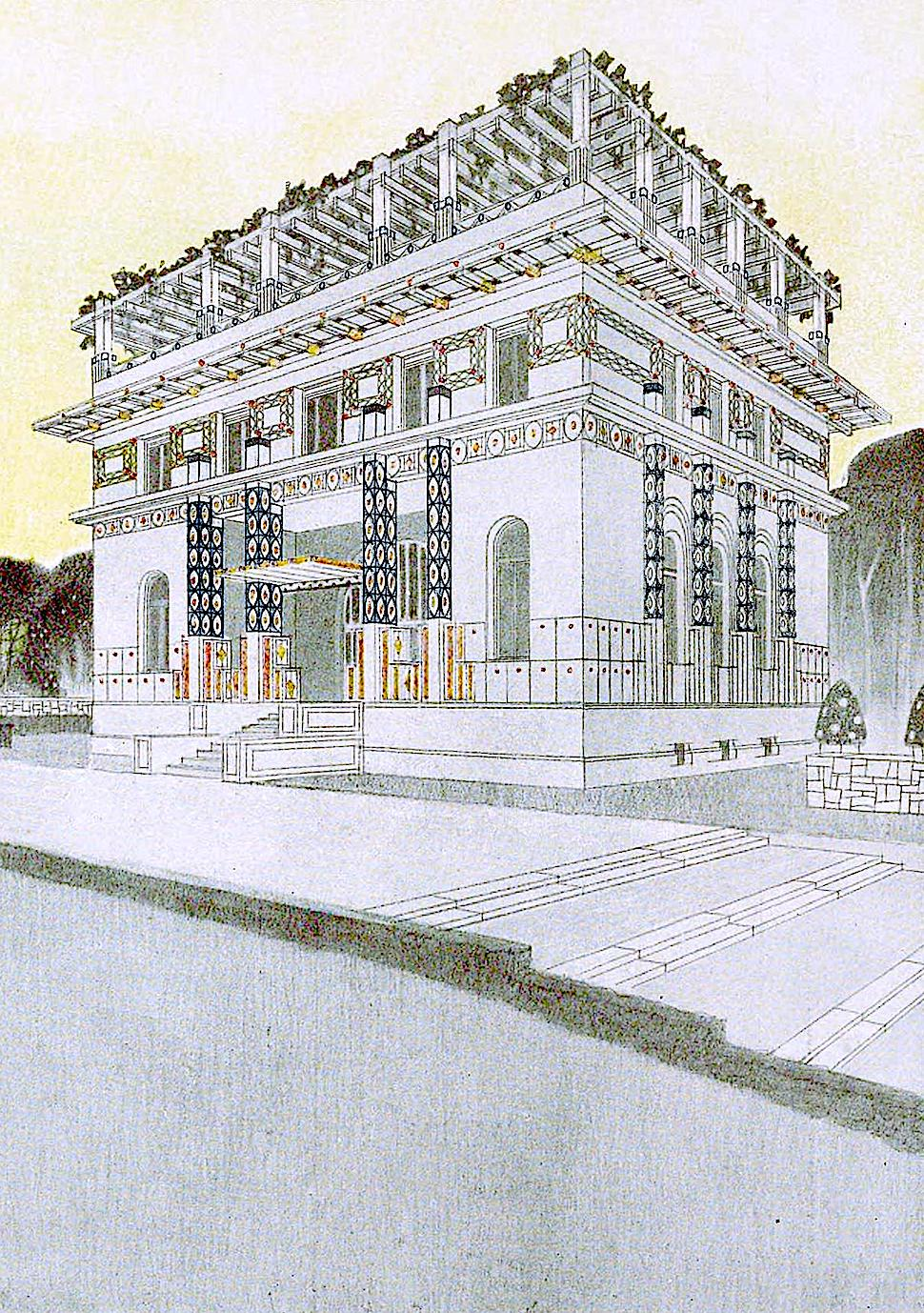 a 1908 building design by Otto Schonthal, secession style
