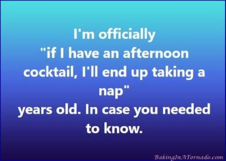 Day drinking and aging graphic | Graphic designed by and property of www.BakingInATornado.com | #MyGraphics #humor