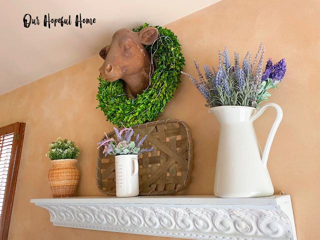 tin shelf farmhouse decor cow head wreath