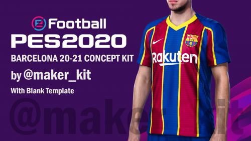 PES 2020 Barcelona 20-21 Kit Template by Kit Maker
