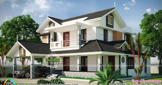 Beautiful sloping roof 2350 sq ft home kerala home design and floor