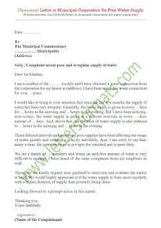 letter to municipal corporation for irregular water supply