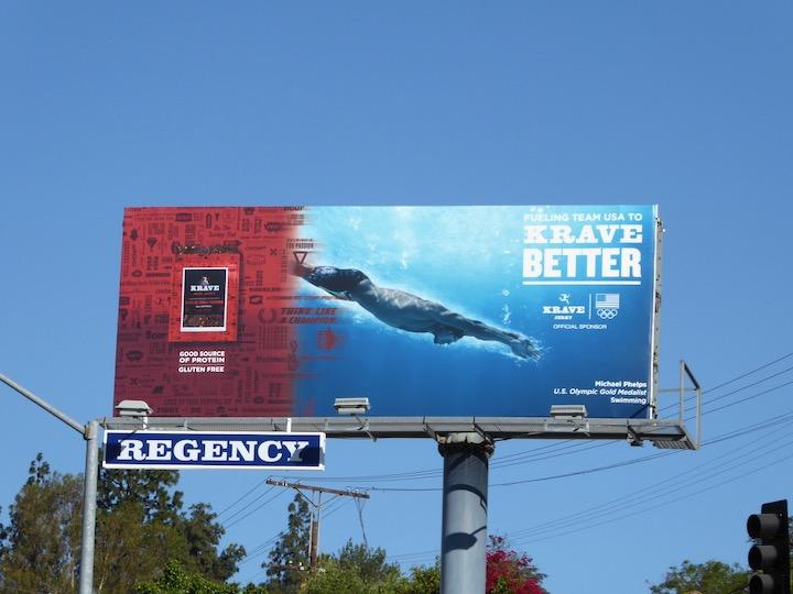 Krave Jerky Swimming Olympics 2016 billboard