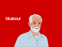 Jeremy Corbyn cartoon, by Wendy Cockcroft