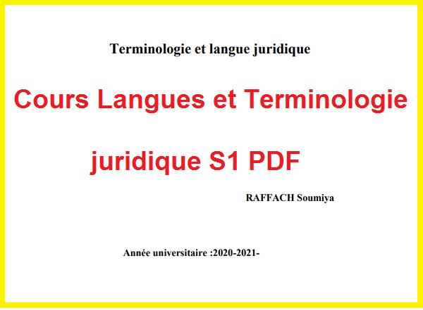 Cours Langues et Terminologie juridique S1 PDF
