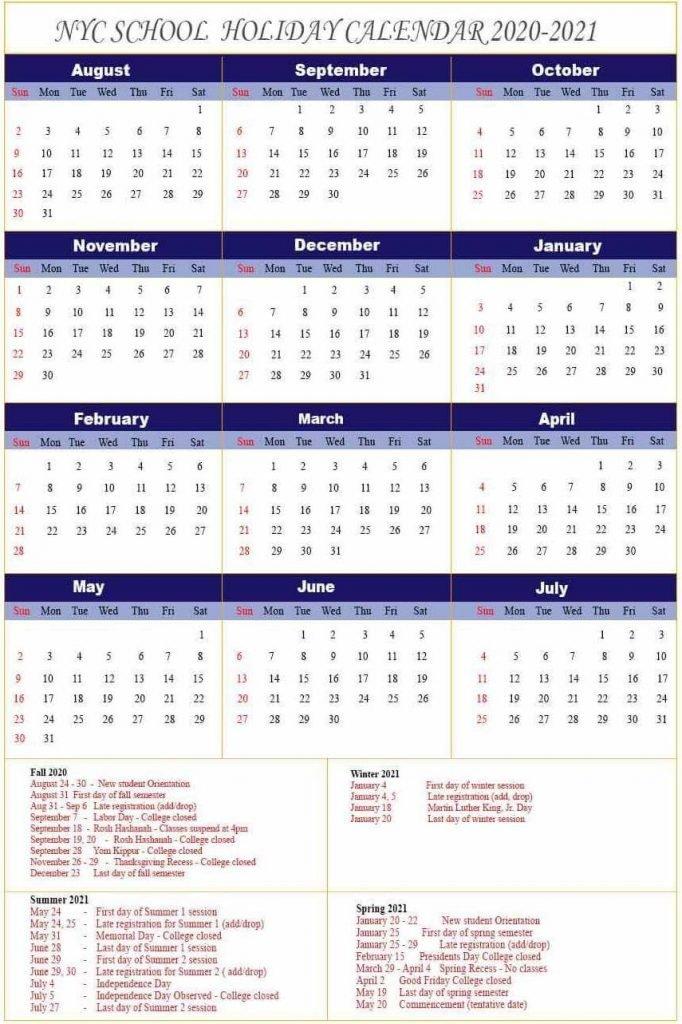 Nyu Academic Calendar 2021-22 NYC DOE Calendar 2020 2021
