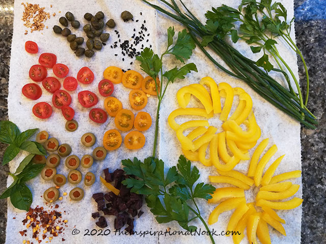 Vegetables to use to decorate focaccia
