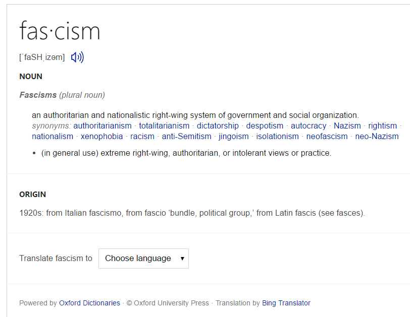 Did google redefine fascism finding fascism bings search results cite oxford dictionaries as its source for the definition while google does not cite any source but searching oxfords dictionary ccuart Choice Image