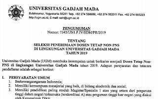 Seleksi Penerimaan Dosen Tetap Non PNS di UGM Tahun 2019