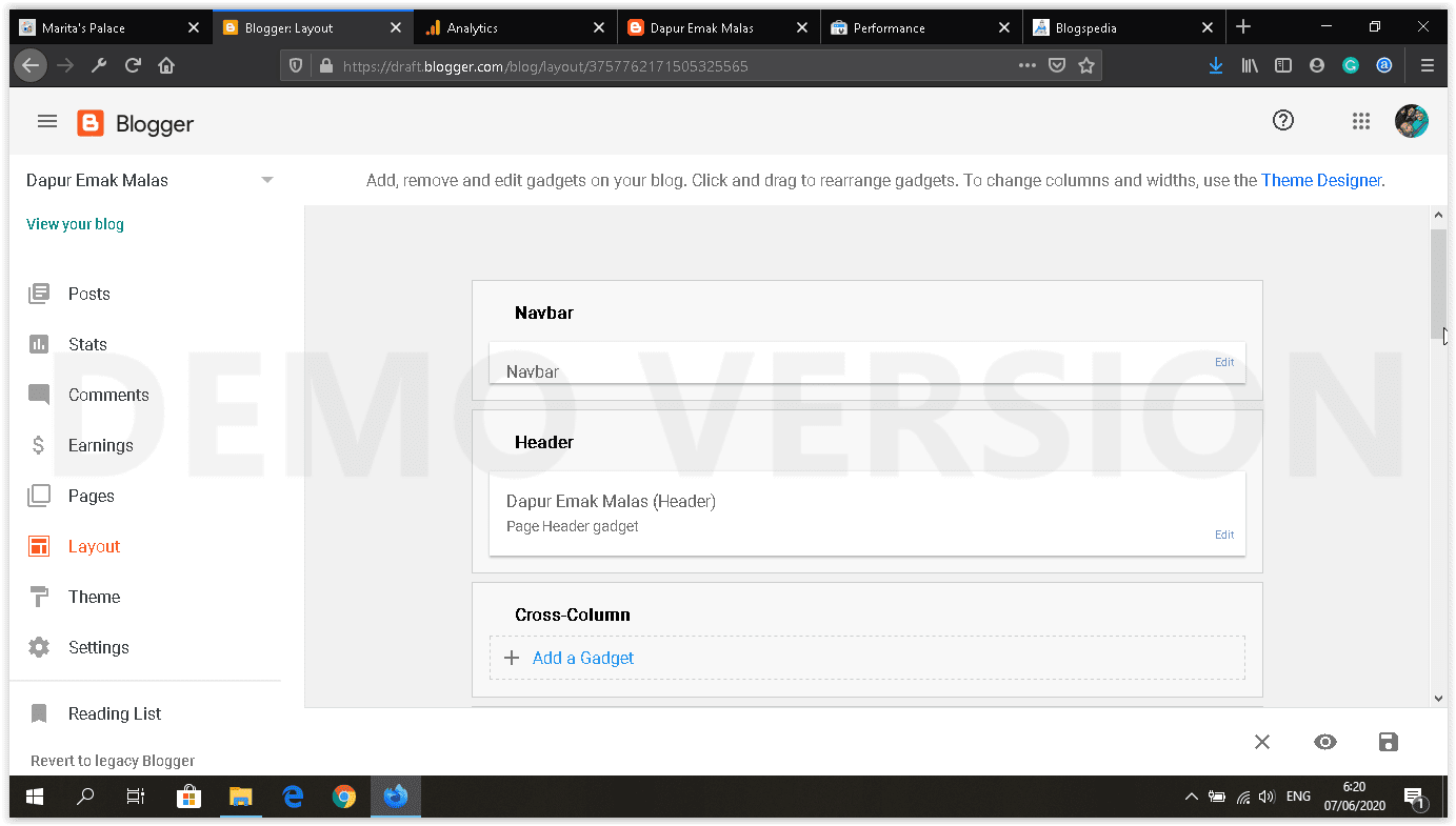 dashboard blogger baru menu layout tanpa favicon