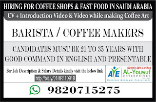 Hiring for Coffee Shops & Fast Food in Saudi Arabia
