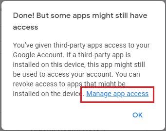 kelola aplikasi pada akun Google yang baru saja dikeluarkan dari perangkat lain