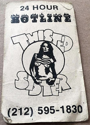 Twisted Sister 24 hour hotline card