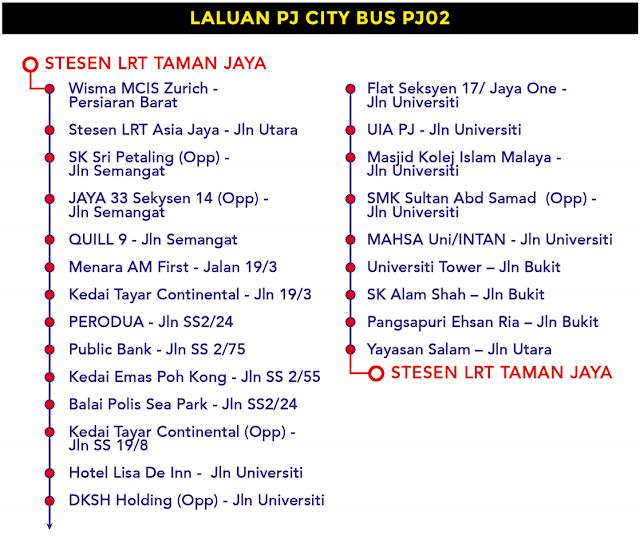 Laluan PJ City Bus PJ02 Bas Percuma