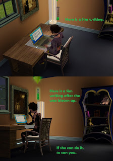 Sim writing Sims 4 ~ Really #AtoZchallenge #ShortStory #AdForRoomatesStory #UrbanFantasy #Gamer