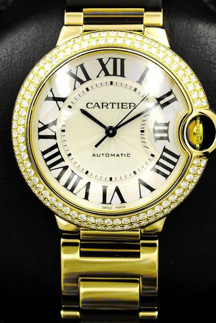 "ساعة كارتير الماس ""Cartier Rose Gold Ballon Bleu"""