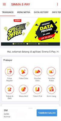 Tampilan Aplikasi Sinma Epay