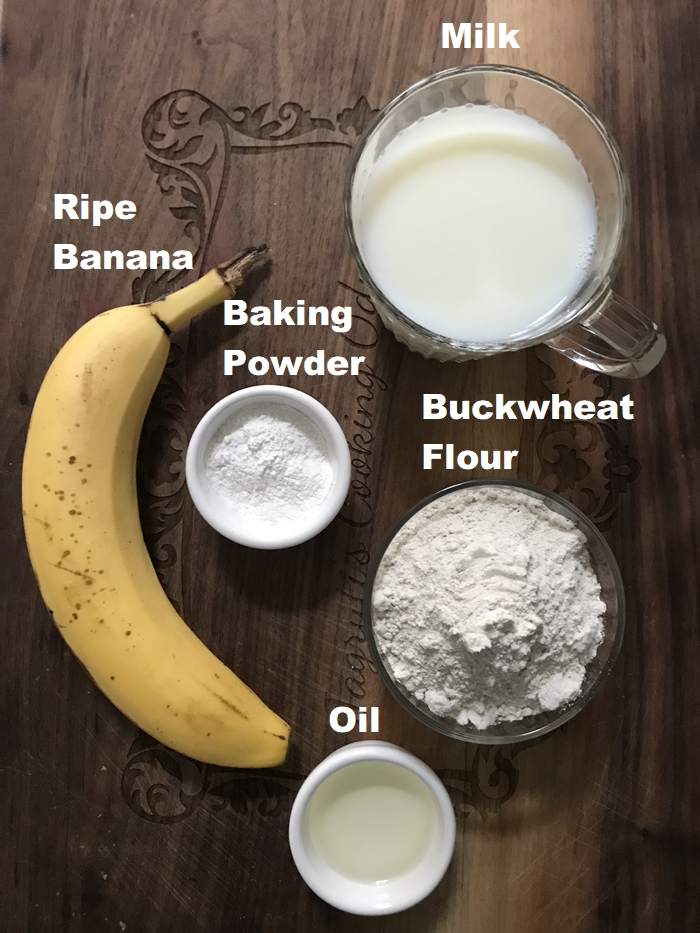 Eggless pancake ingredients are buckwheat flour, ripe banana, baking powder, buckwheat flour and oil.