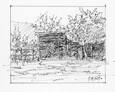 art sketch pen ink hay shed shelter rural landscape