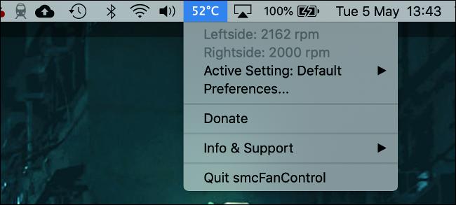 smcFanControl لنظام التشغيل macOS مع عرض درجة الحرارة