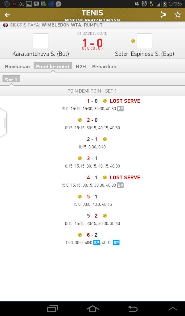 Tampilan Statistik Point Pertandingan Tenis