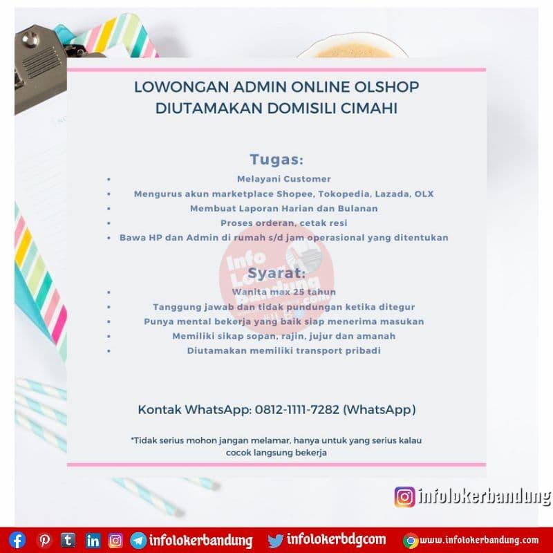 Lowongan Kerja Admin Online Shop Cimahi Juli 2021