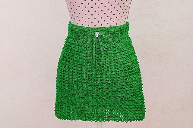 6 - Crochet Imagen Falda verde a crochet y ganchillo sencilla facil DIY por Majovel Crochet