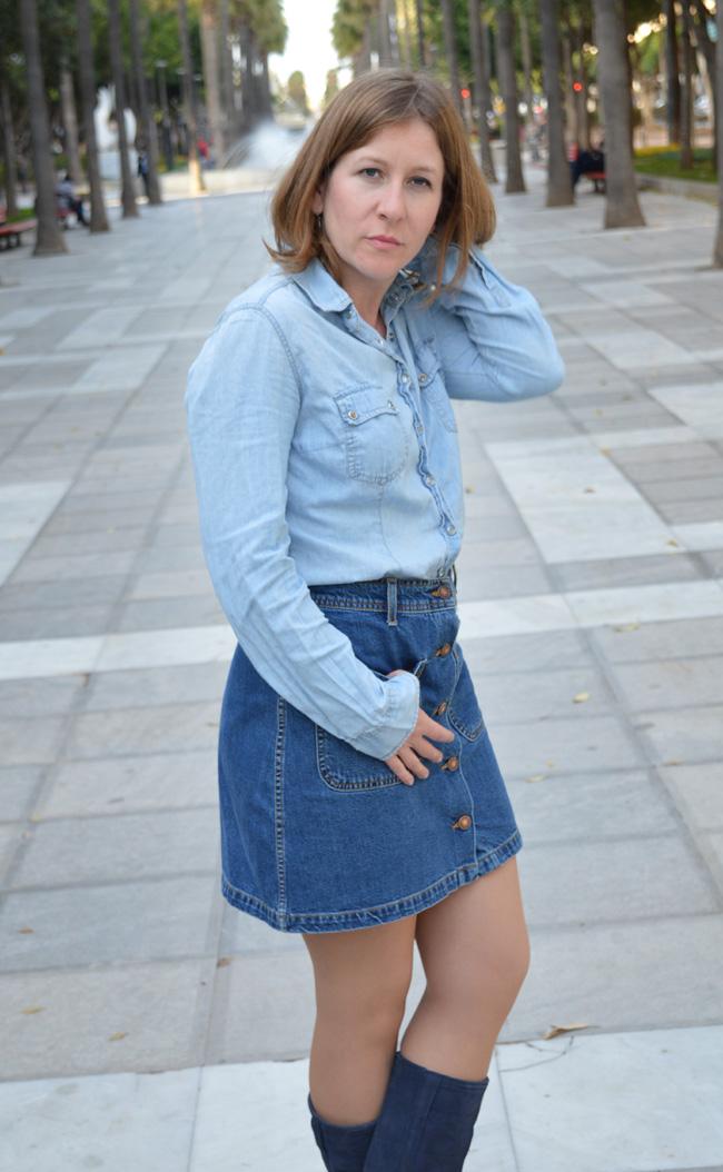 mcompany style  Look con falda vaquera y chaqueta tribal 158e83877b35