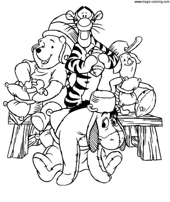Tranh cho bé tô màu gấu Pooh 31