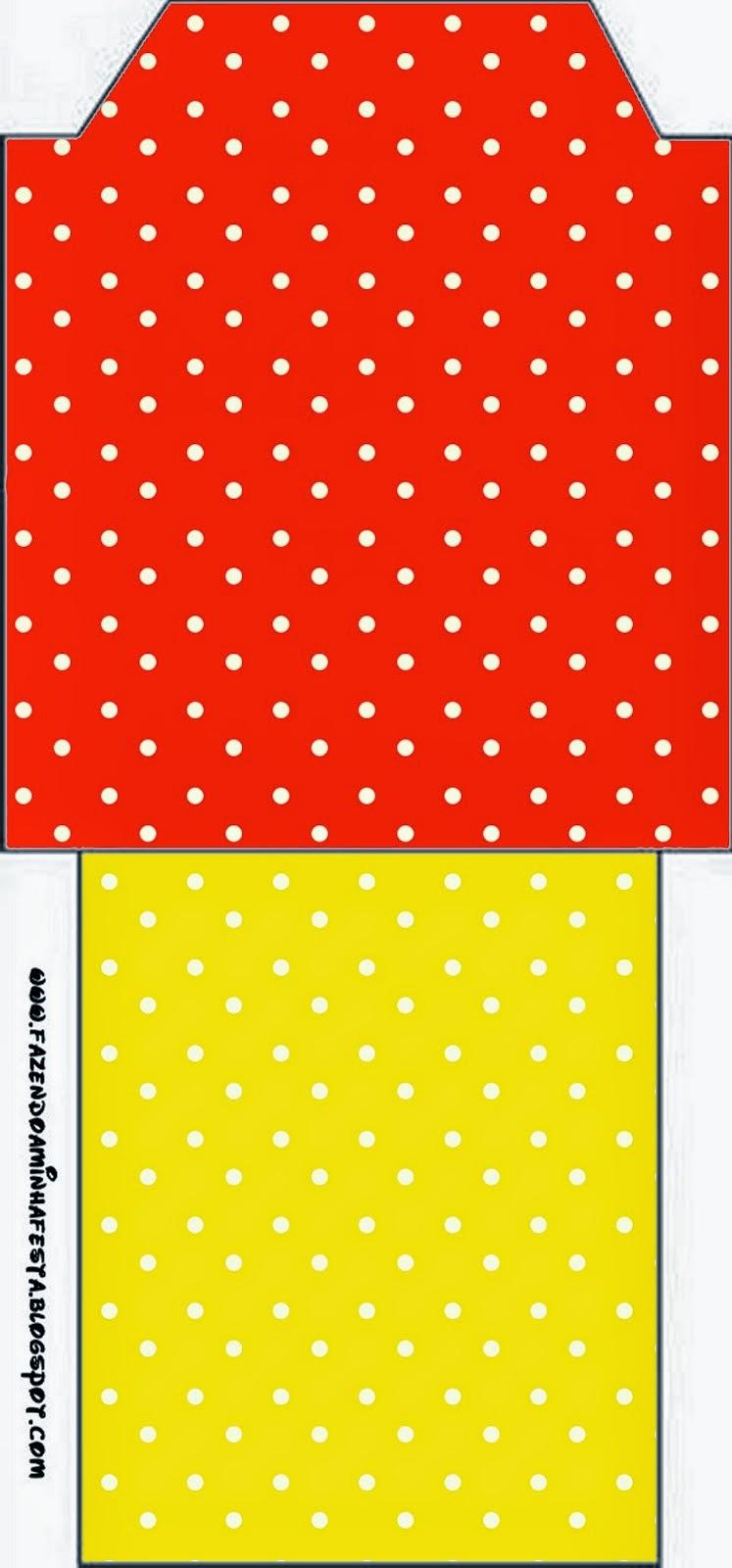 Bolsita de Té para Imprimir Gratis de Rojo, Amarillo y Lunares Blancos.
