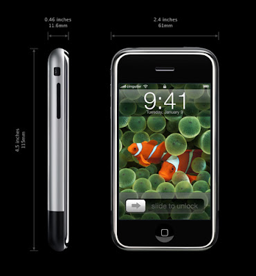 Apple iPhone Specifications - LAUNCH Announced 2007, January DISPLAY Type Type TFT capacitive touchscreen, 16M colors Size 3.5 inches (~52.0% screen-to-body ratio) Resolution 320 x 480 pixels (~165 ppi pixel density) Multitouch Yes Protection Corning Gorilla Glass, oleophobic coating BODY Dimensions 115 x 61 x 11.6 mm (4.53 x 2.40 x 0.46 in) Weight 135 g (4.76 oz) SIM Mini-SIM PLATFORM OS iOS, upgradable to iOS 3.1.3 CPU 412 MHz ARM 11 GPU PowerVR MBX MEMORY Card slot No Internal 4/8/16 GB CAMERA Primary 2 MP Secondary No Video No NETWORK Technology GSM 2G bands GSM 850 / 900 / 1800 / 1900 GPRS Yes EDGE Yes COMMS WLAN Wi-Fi 802.11b/g GPS No USB v2.0 Radio No Bluetooth v2.0 (headset support only) FEATURES Sensors Sensors Accelerometer, proximity Messaging SMS (threaded view), Email Browser HTML (Safari) Java No SOUND Alert types Vibration, proprietary ringtones Loudspeaker Yes 3.5mm jack Yes BATTERY  Non-removable Li-Ion battery Stand-by Up to 250 h Talk time Up to 8 h Music play Up to 24 h MISC Colors Black